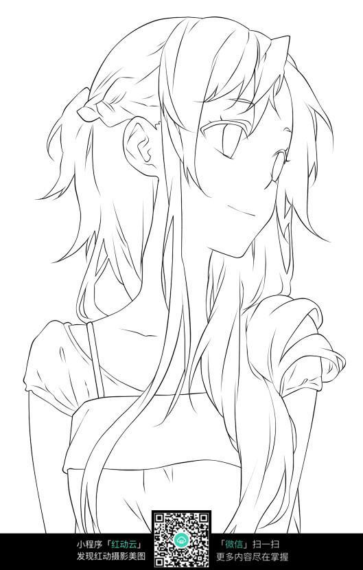 侧脸微笑的女孩卡通手绘线稿JPG图片 人物卡