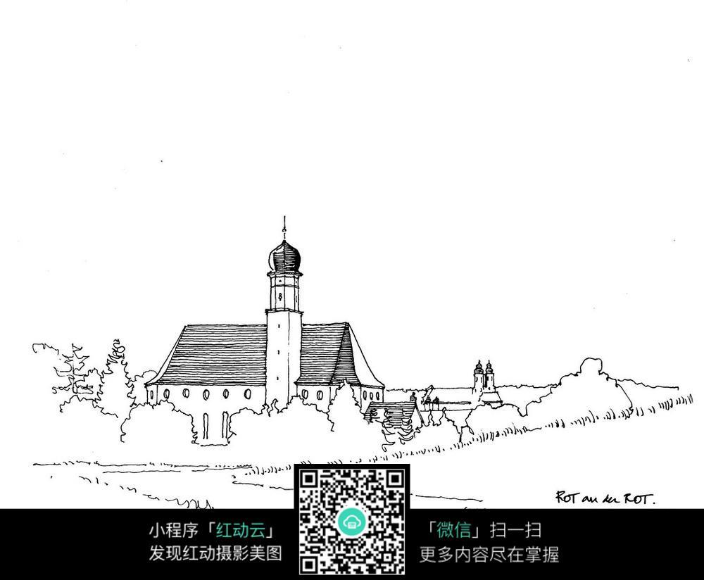 城镇教堂建筑手绘图图片