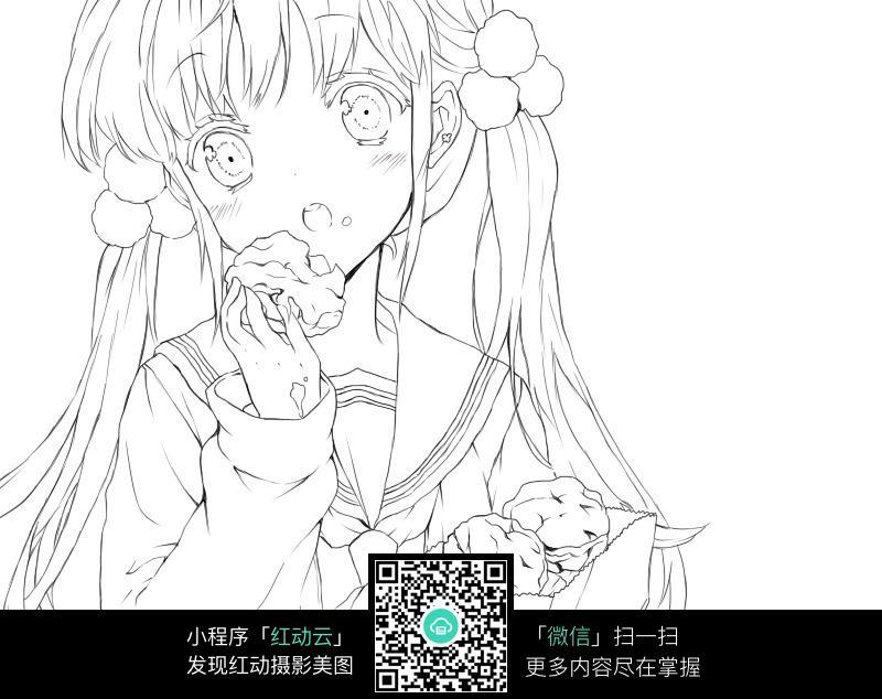 免费素材 图片素材 漫画插画 人物卡通 吃糕点的女孩卡通手绘线稿jpg