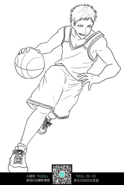 打篮球的男人卡通手绘线稿jpg
