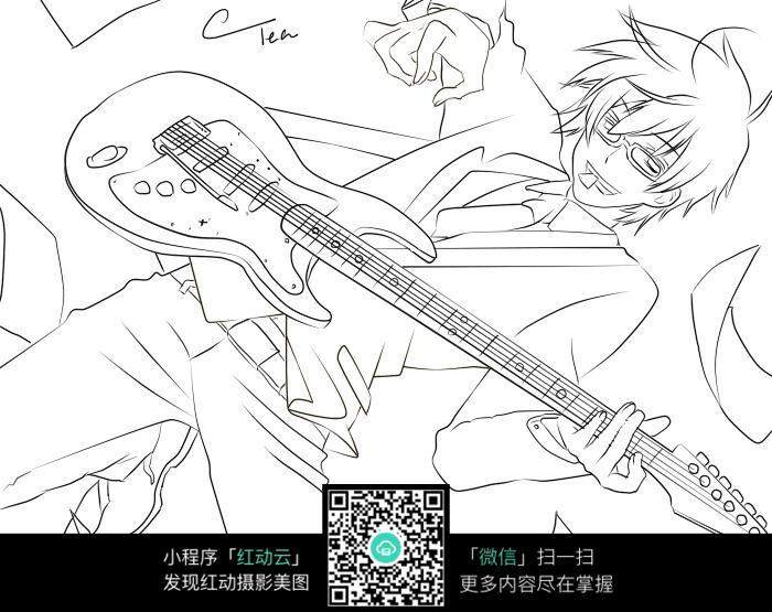 弹电吉他的男孩通手绘线稿jpg