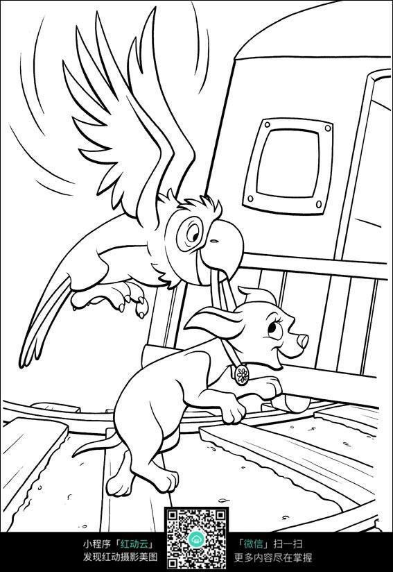 鹦鹉叼小狗上火车卡通手绘填色线稿jpg