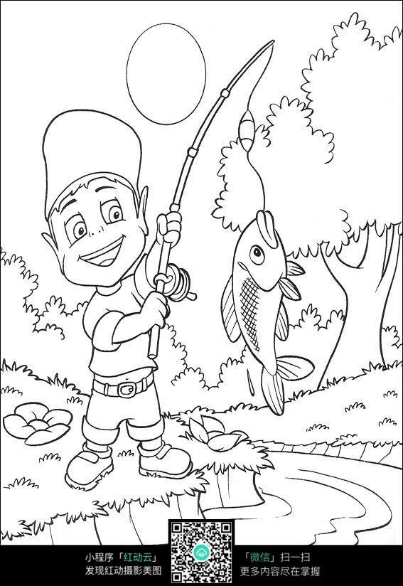 钓鱼的男孩卡通手绘填色线稿jpg