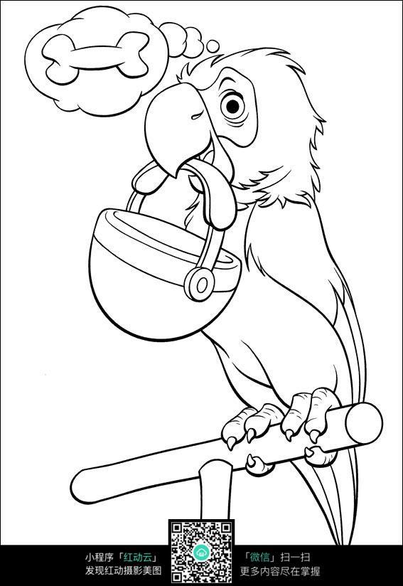 叼着饭盒的鹦鹉卡通手绘填色线稿jpg