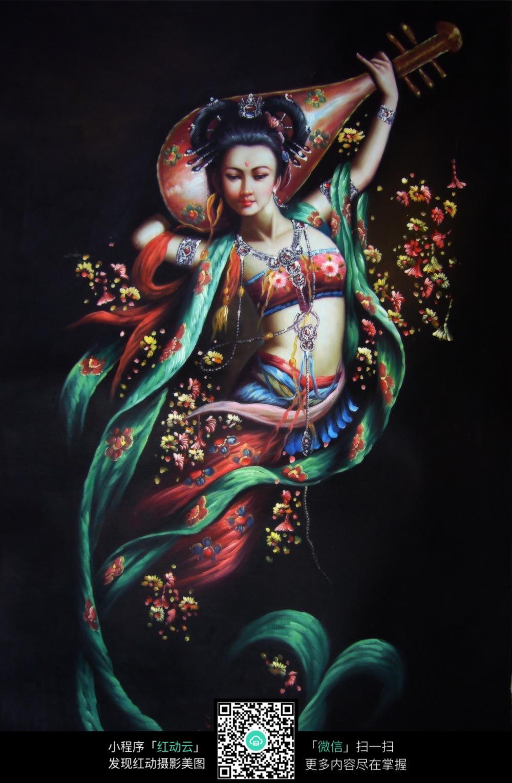 反弹琵琶中式古典人物油画jpg图片图片