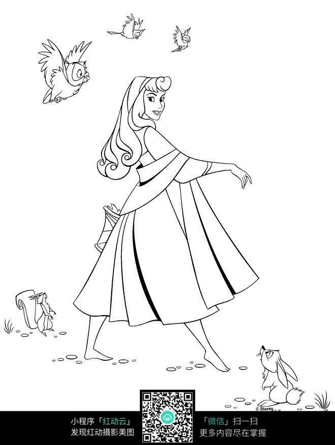公主和小动物卡通手绘填色线稿jpg