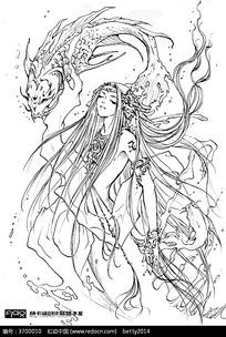 古代美女漫画插画