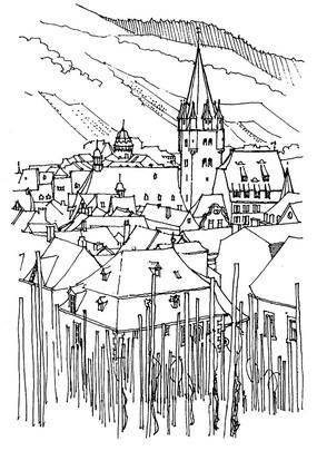 欧式建筑素描写生