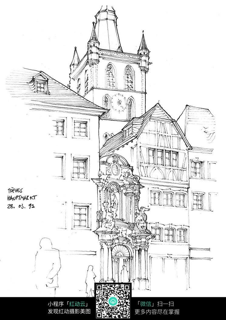 国外高档大教堂墙体石雕手绘图