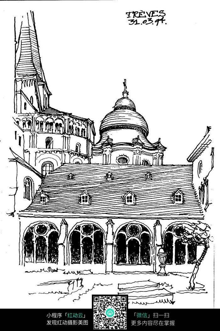 国外古典建筑手绘设计图