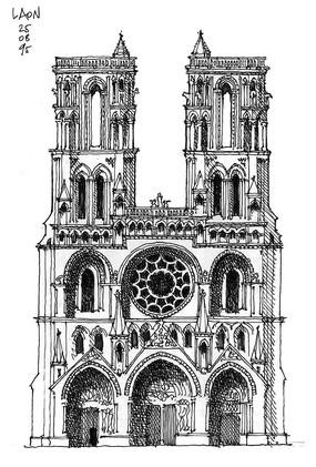 国外古典教堂建筑手绘图