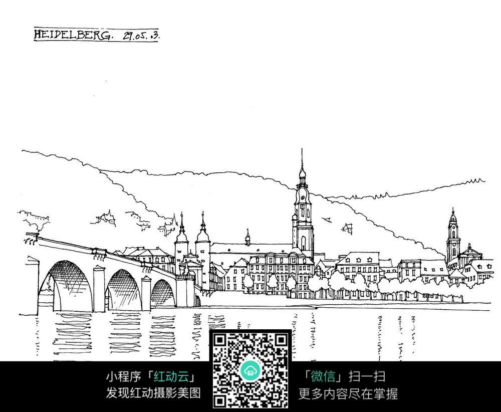 国外河边大桥建筑手绘