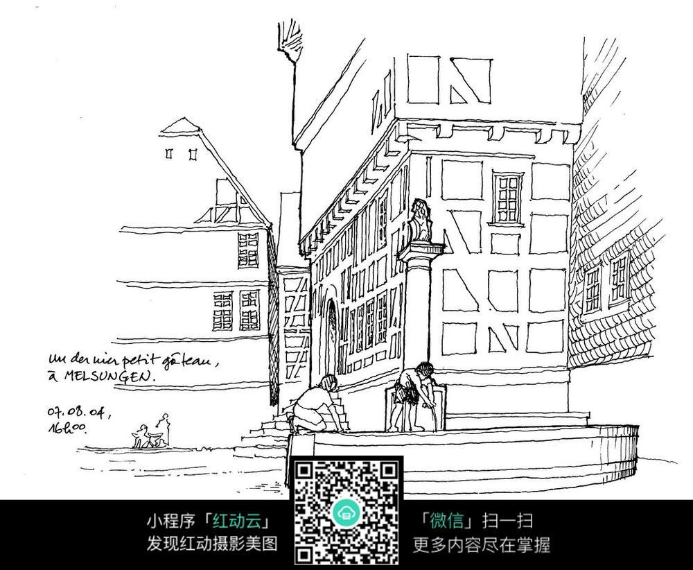 国外街头建筑手绘插画图片