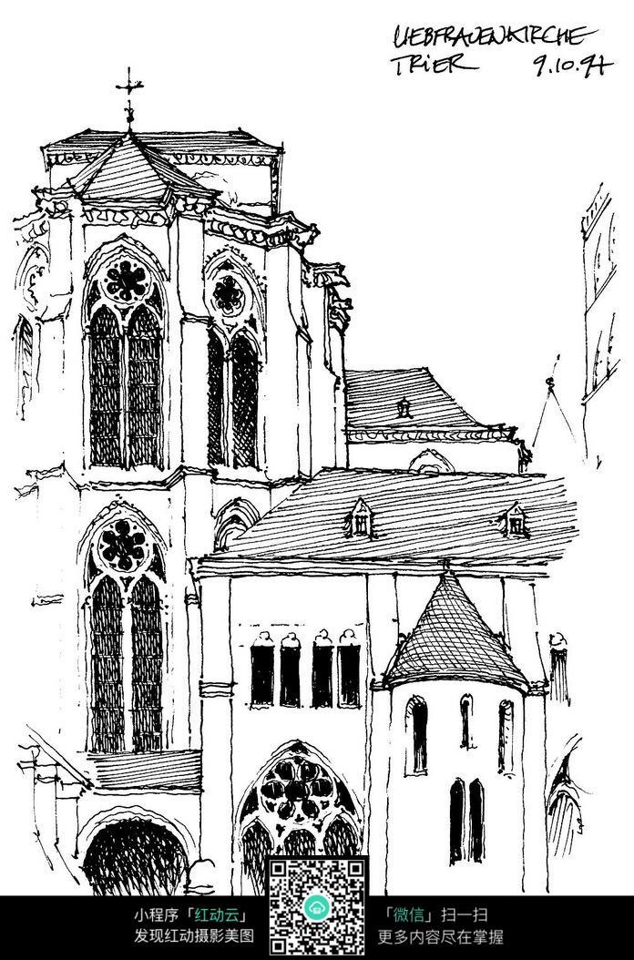 豪华教堂手绘设计图