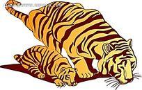 喝水的老虎母子矢量插画