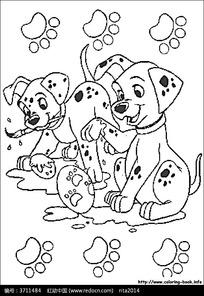 画脚印的小狗卡通手绘填色线稿JPG