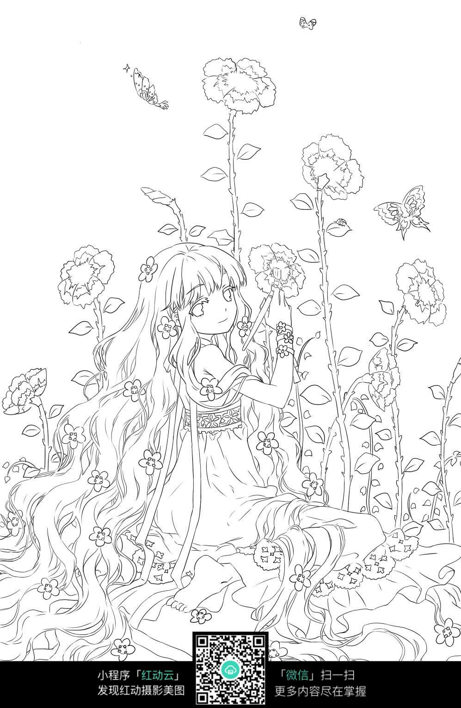 免费素材 图片素材 漫画插画 人物卡通 绘画花朵的长发女孩卡通手绘