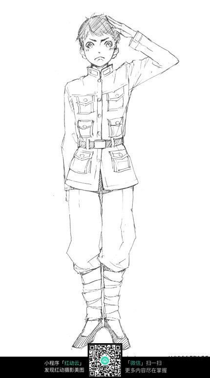 敬礼的军人卡通手绘线稿jpg图片