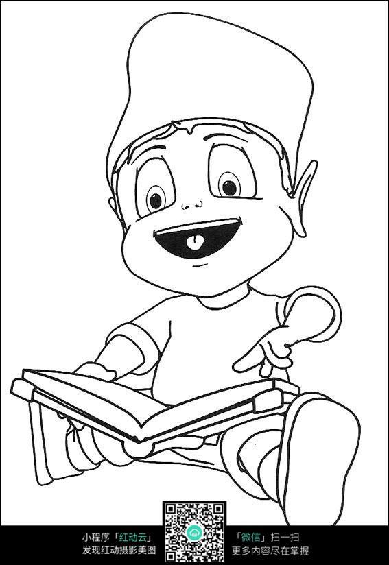 看书的男孩卡通手绘填色线稿jpg图片