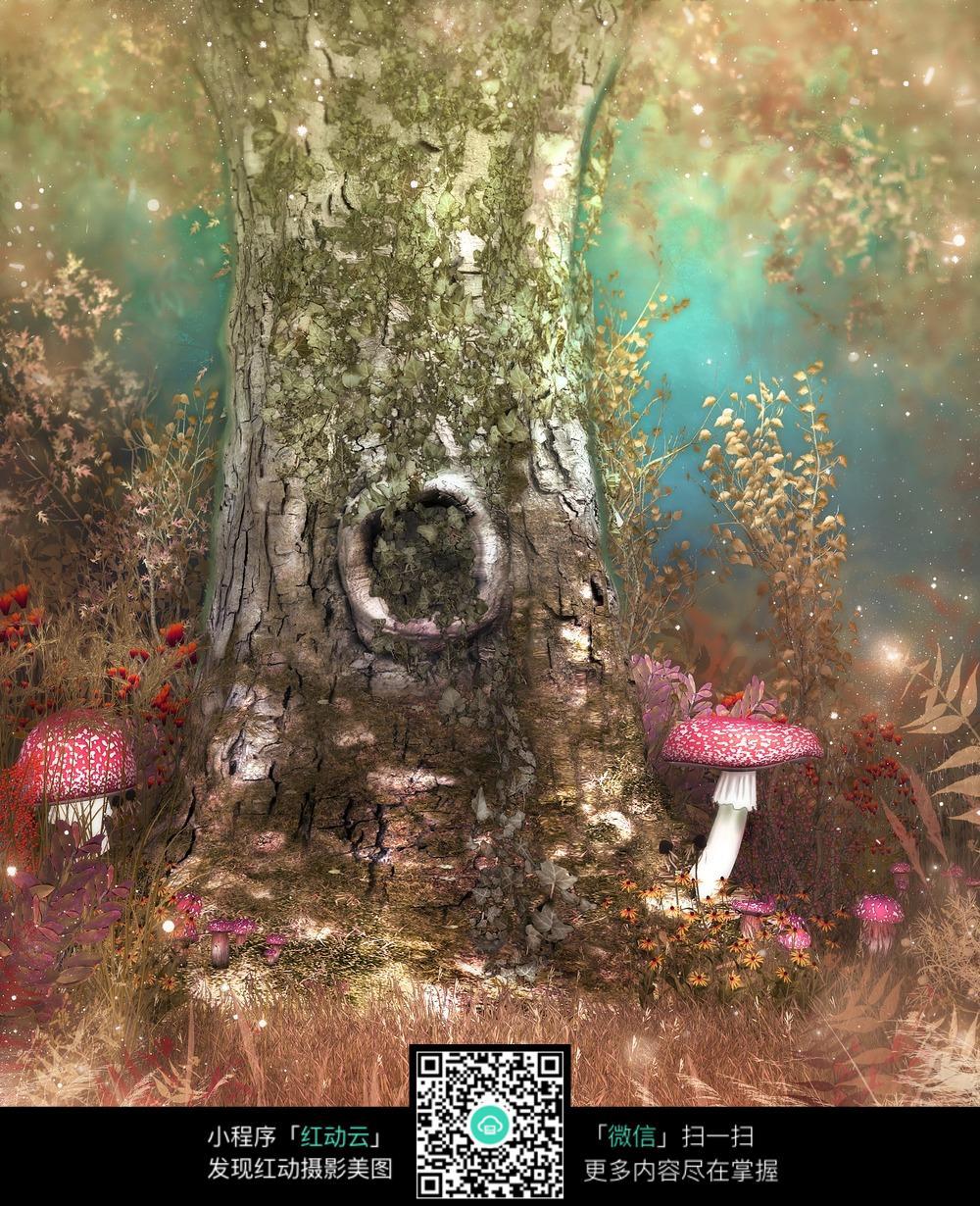 卡通老树蘑菇背景图片
