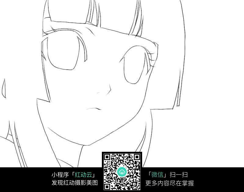 卡通女孩脸部特写手绘线稿jpg