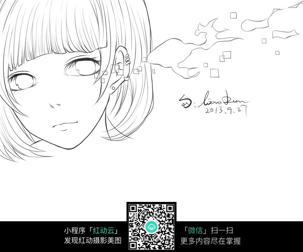 卡通少女脸部手绘