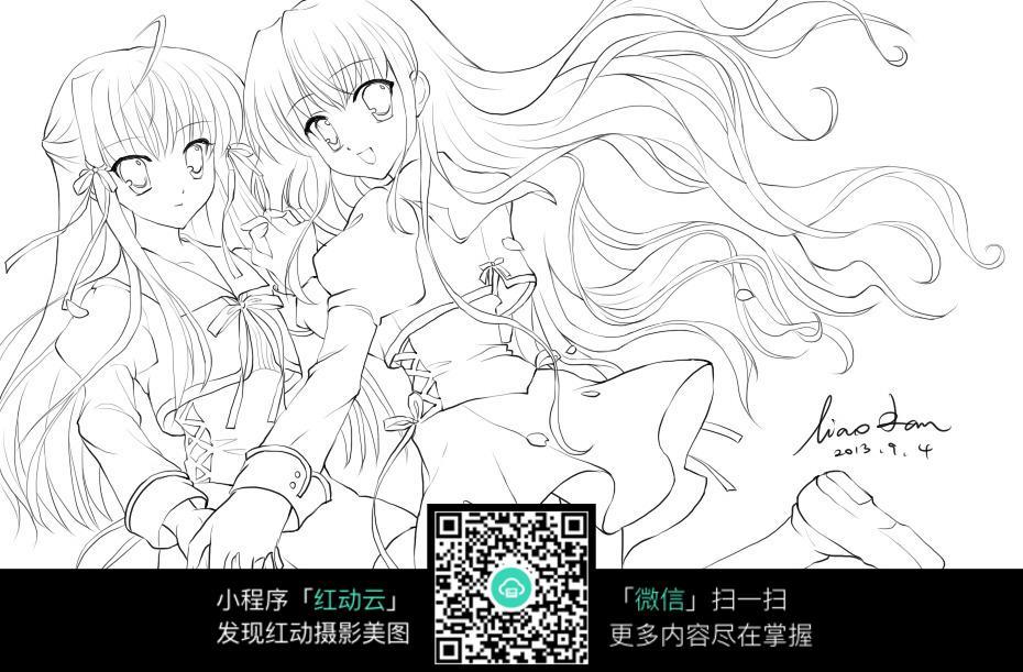 拉手跳舞的两个女孩卡通手绘线稿jpg图片