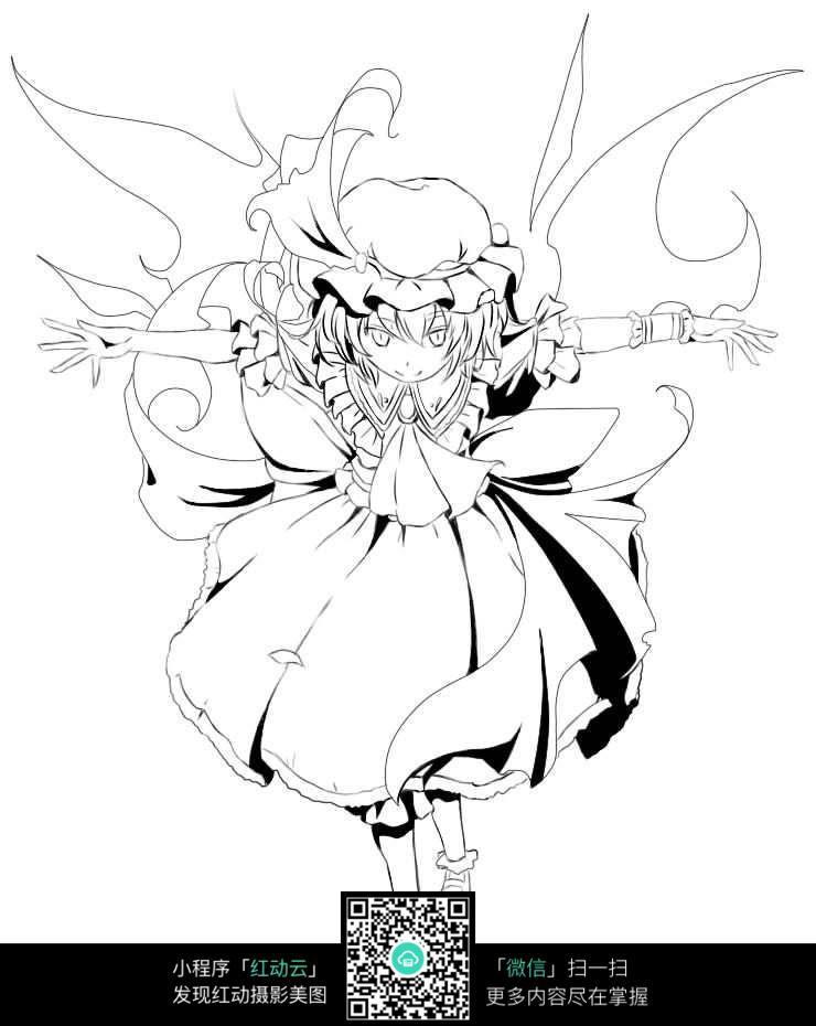 漫画人物黑白插画_人物卡通图片