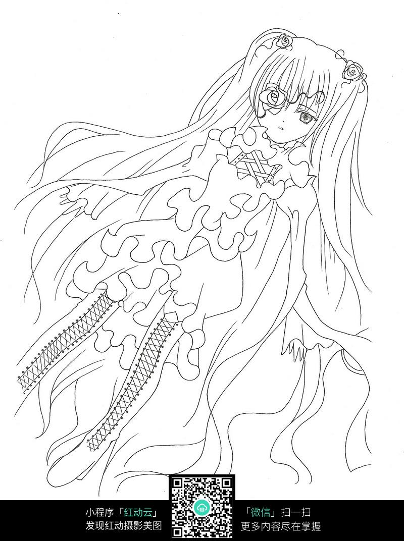 美少女卡通手绘线稿jpg_人物卡通图片_红动手机版