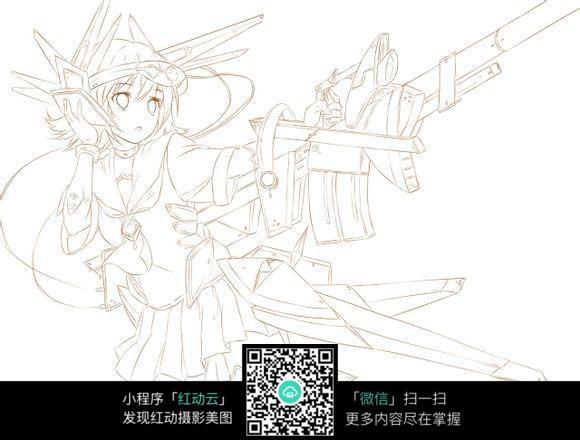 拿枪的美少女战士卡通手绘线稿jpg图片