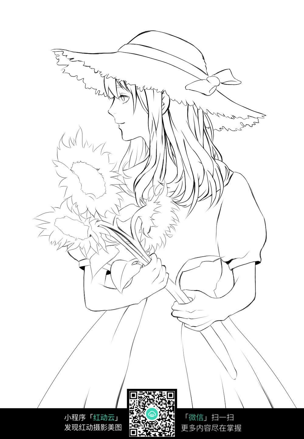 拿着向日葵的女孩卡通手绘线稿jpg