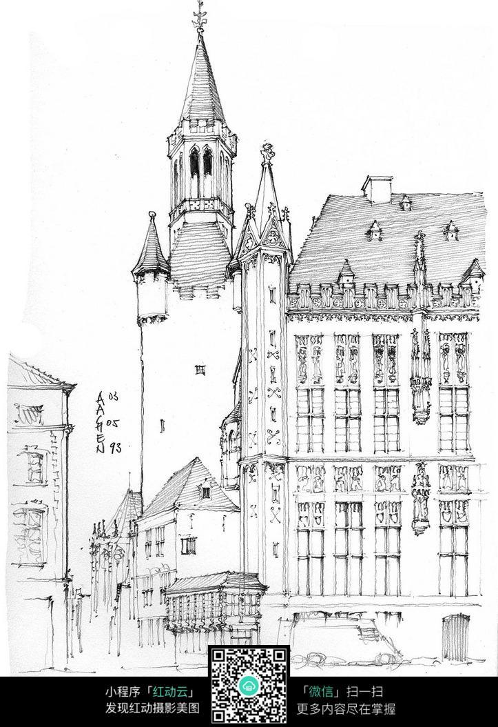 欧洲古典建筑手绘插图图片
