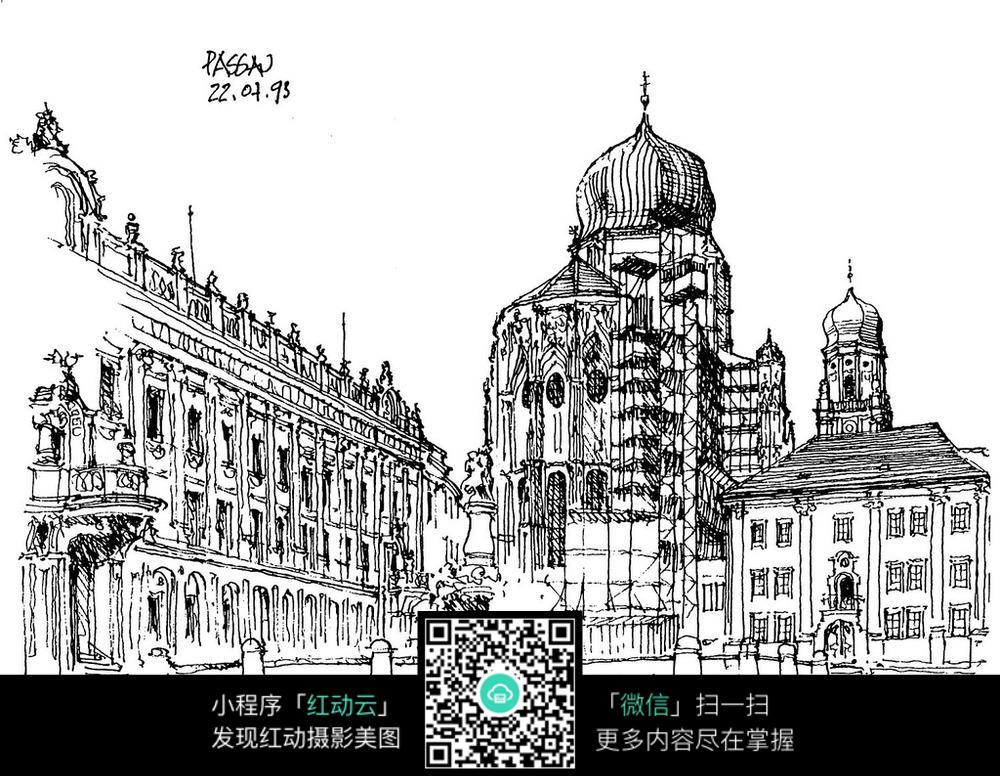 欧洲古建筑广场手绘图图片