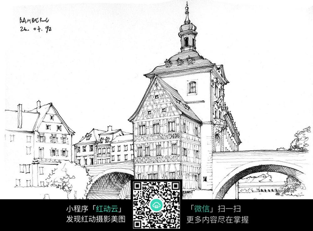 欧洲建筑手绘线稿图片