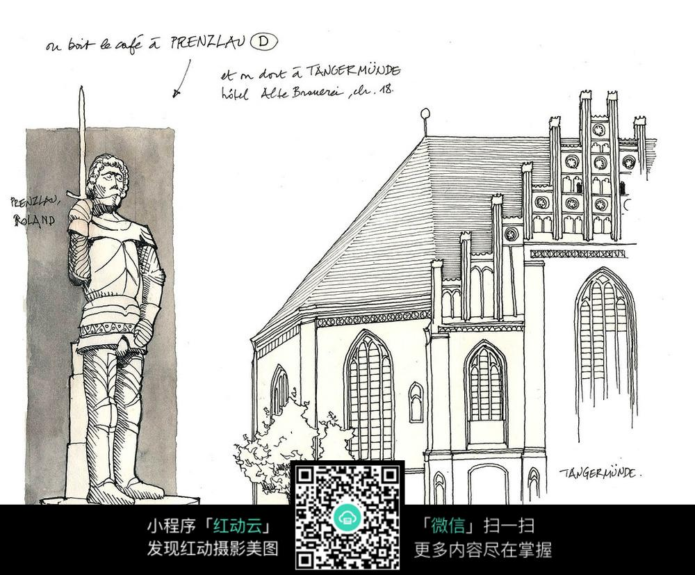 欧洲现代别墅建筑手绘图