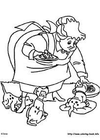 胖女人喂小狗卡通手绘填色线稿JPG