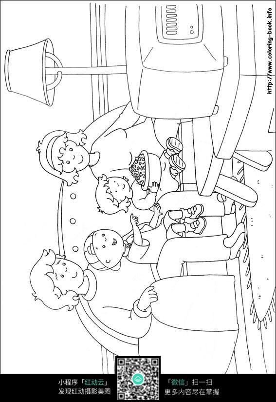 电视的简笔画-全家看电视卡通手绘填色线稿JPG图片免费下载 编号