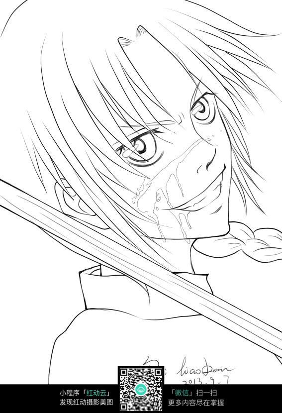 日漫武士面部手绘图