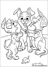 三只高兴的小狗卡通手绘填色线稿JPG