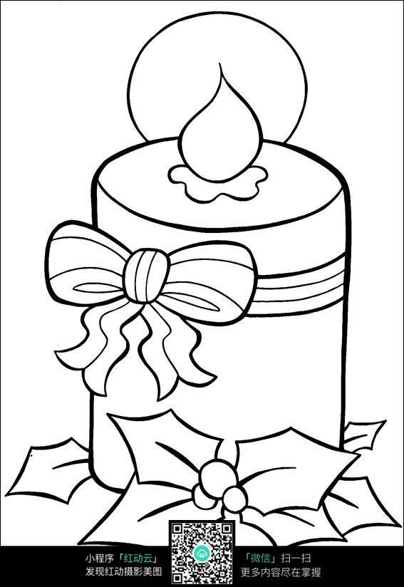 圣诞蜡烛卡通手绘填色线稿jpg