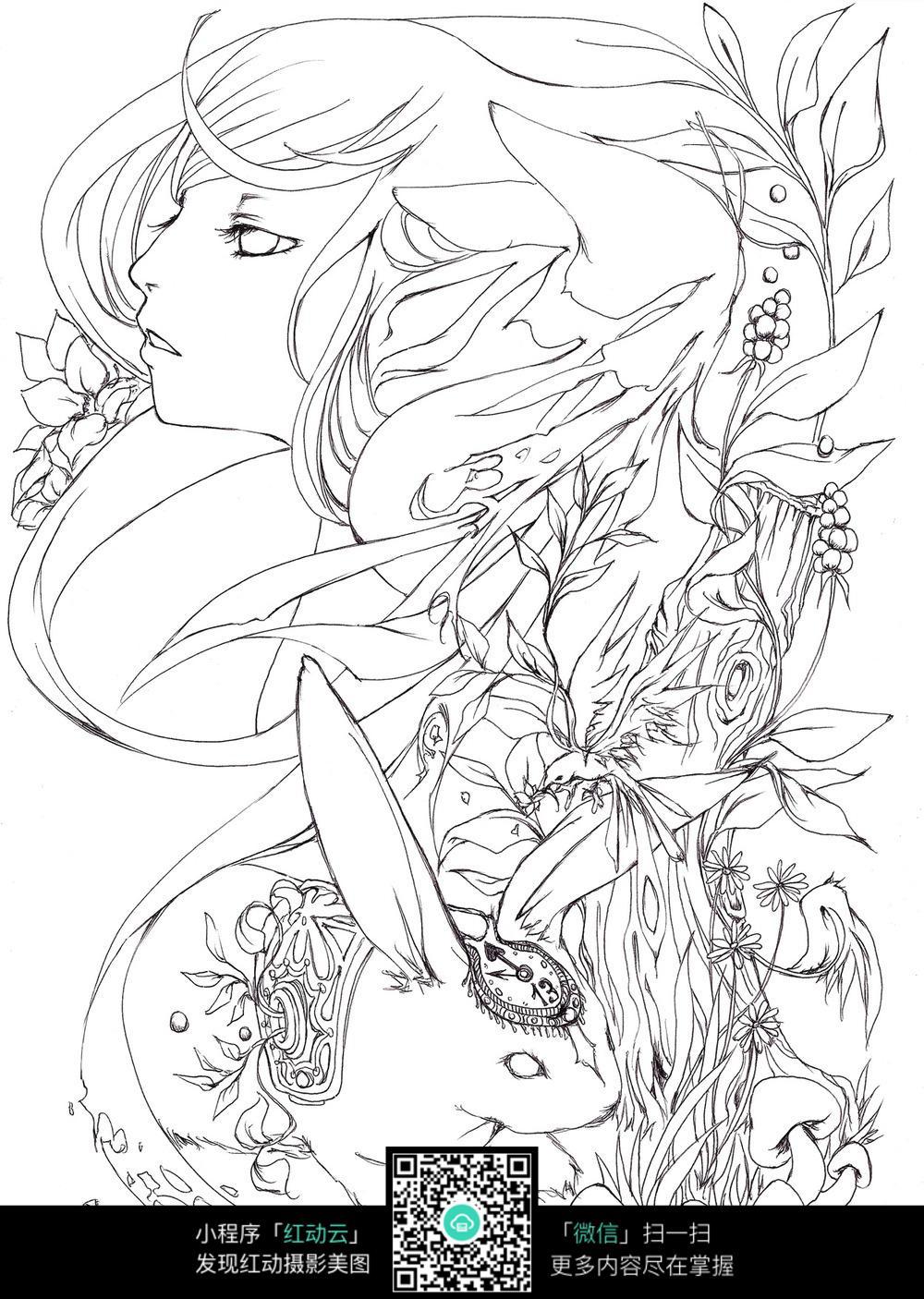 手绘少女兔子插画_人物卡通图片