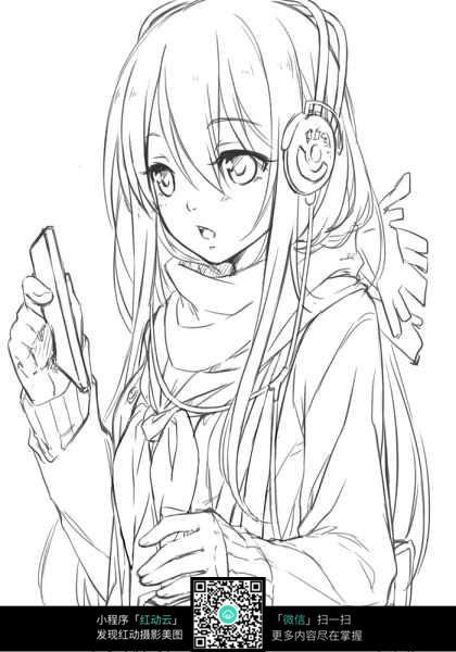 听歌的女孩卡通手绘线稿jpg