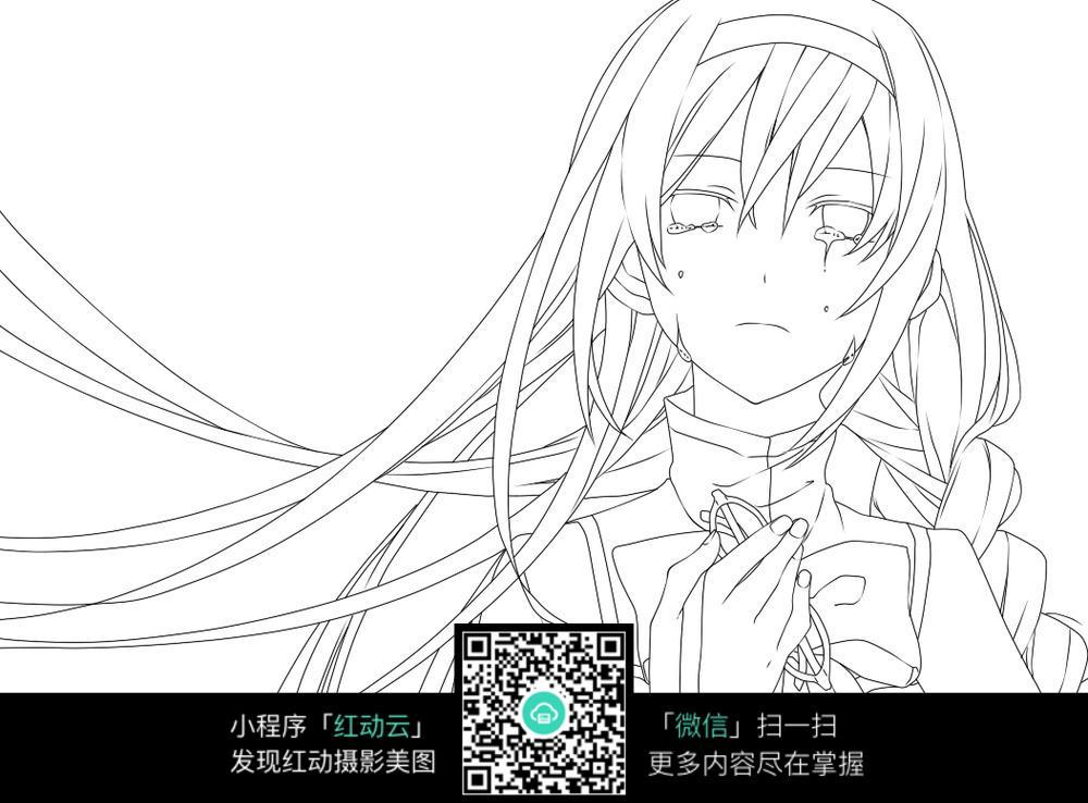 头发飘扬的女孩卡通手绘线稿jp