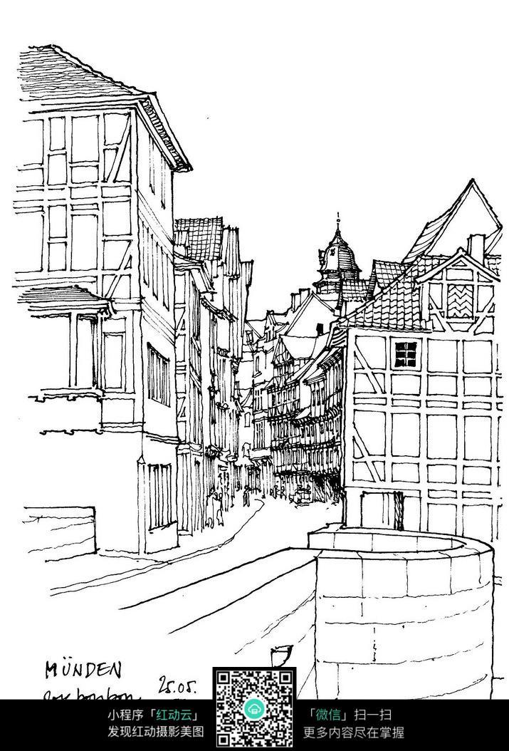 乡村建筑手绘线稿图片