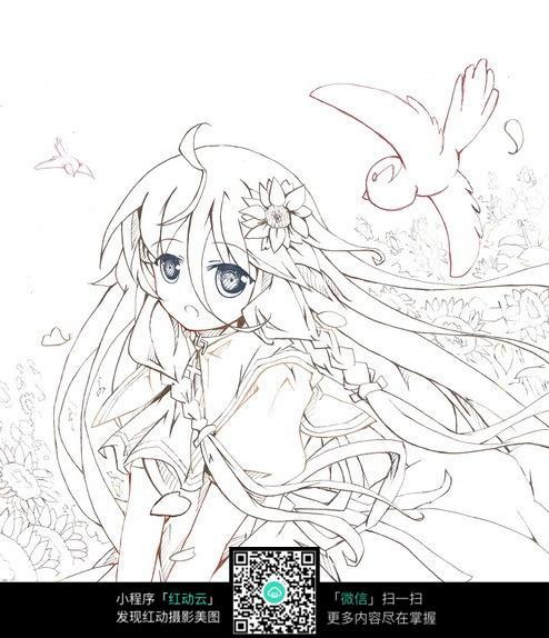 向日葵花丛中的女孩卡通手绘线稿jpg