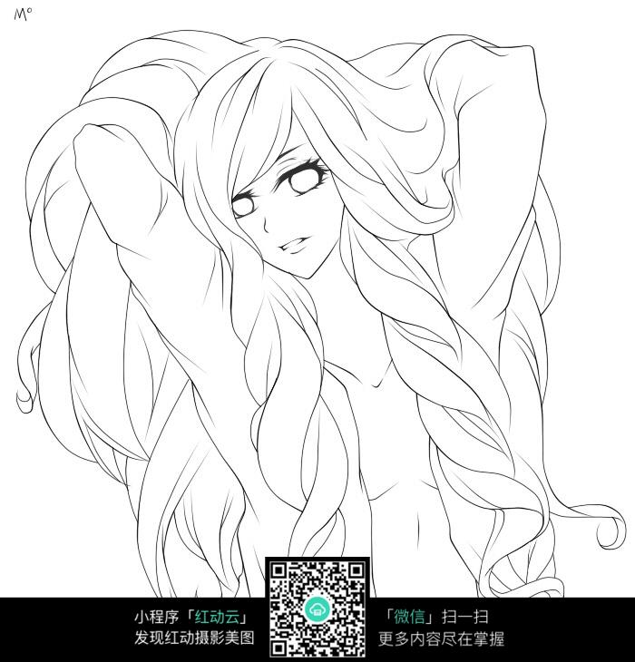 掀头发的女孩卡通手绘线稿jpg