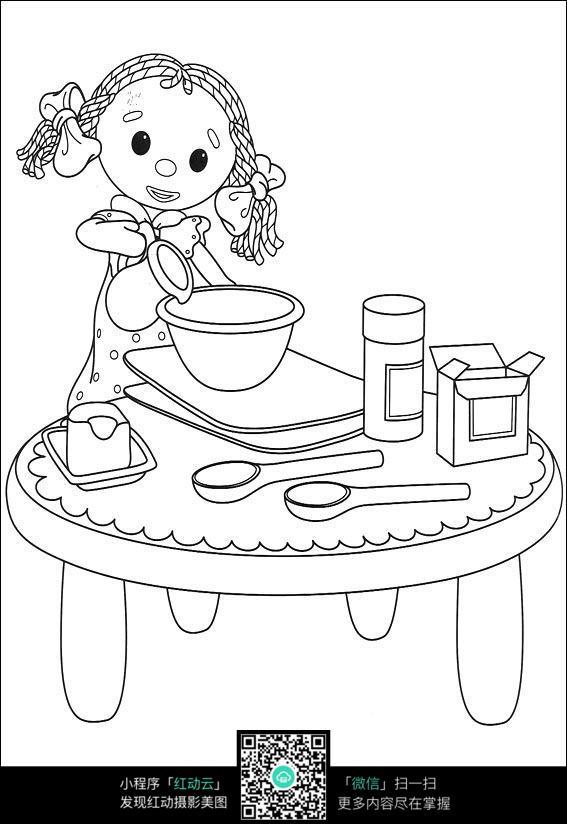 小女孩倒水卡通手绘填色线稿jpg_人物卡通图片