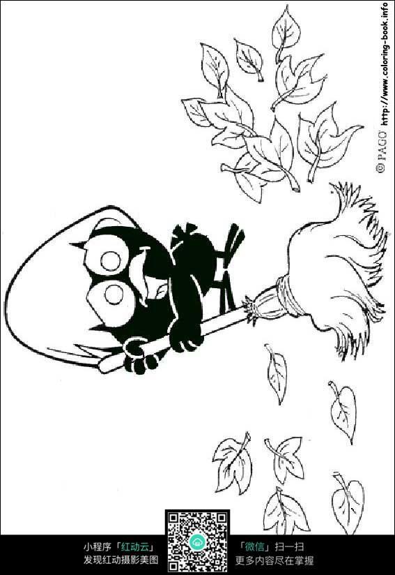 小乌鸦扫地卡通手绘填色线稿jpg