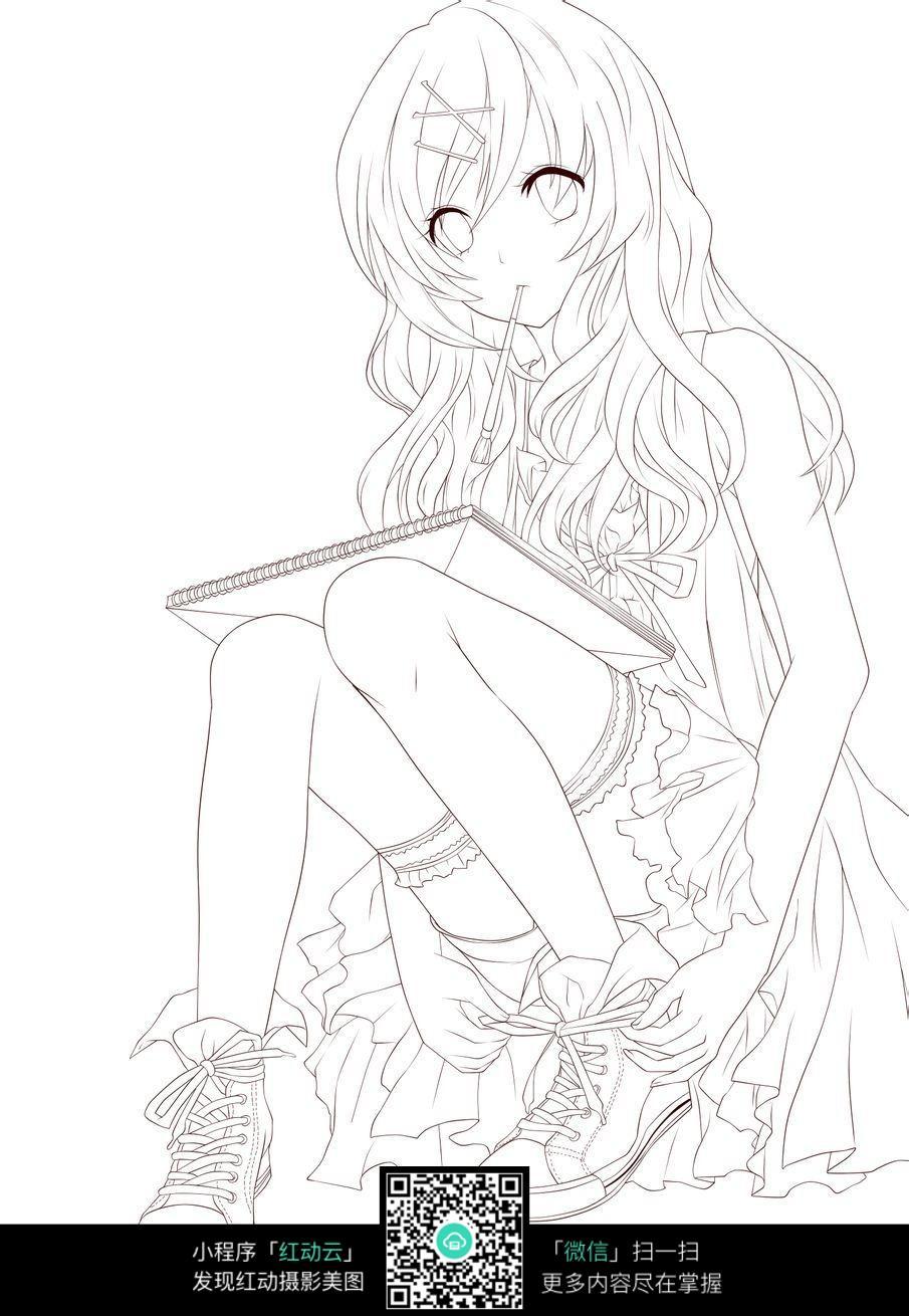 系鞋带的绘画女孩卡通手绘线稿jpg