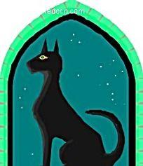 夜晚在窗台的黑猫矢量插画